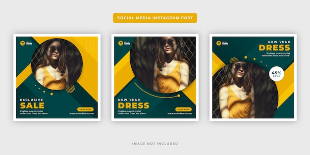 New year fashion sale banner social media instagram post set vorlage