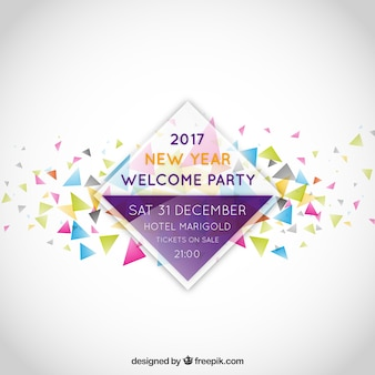 New year party invitation label