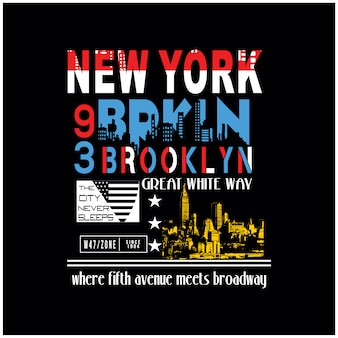 New york brooklyn für t-shirt grafikvektor