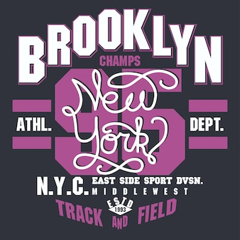New york brooklyn sport tragen typografie-emblem, t-shirt-stempelgrafik, t-shirt-druck, sportbekleidungsdesign. vektor