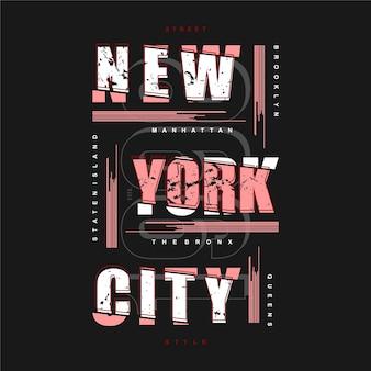 New york city gestreifte abstrakte grafische typografie für druck-t-shirt