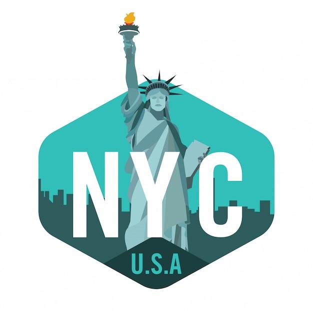 New york city logo mit freiheitsstatue