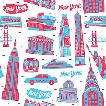 New york city nahtloses muster mit wahrzeichenelementen
