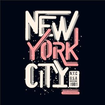 New york city schriftzug t-shirt design typografie illustration