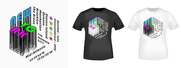New york city - t-shirt-druckdesign mit fünf bezirken für abzeichen, applikationen, etiketten, t-shirts, jeans, freizeit- und stadtkleidung. vektor-illustration.