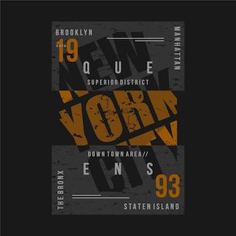 New york city textrahmen grafik typografie illustration für druck t-shirt