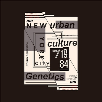 New york city urban culture genetik flache grafik typografie design grafik illustration für t-shirt druck