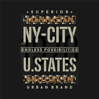 New york city vereinigte staaten grafik typografie t-shirt design casual style