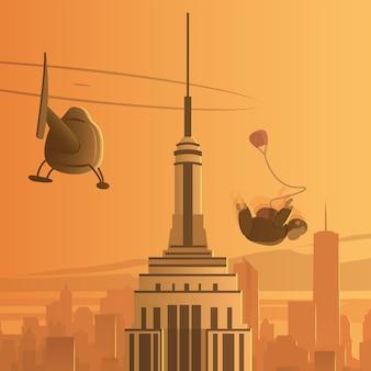 New york city wolkenkratzer fallschirmspringen