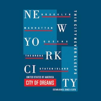 New york city zeichnet abstraktes typografisches design