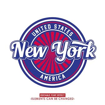 New york font-effekt und abzeichen mit retro-stil