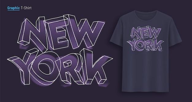 New york. grafisches t-shirt-design, typografie, druck mit stilisiertem text. vektor-illustration.