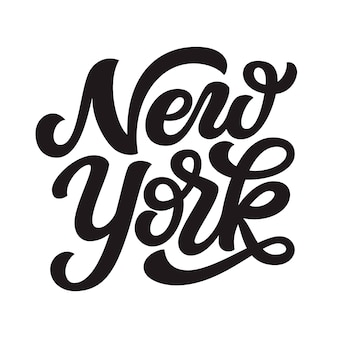 New york. hand gezeichneter beschriftungstext