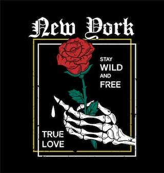 New york knochenhand mit rosen trendige stickerei