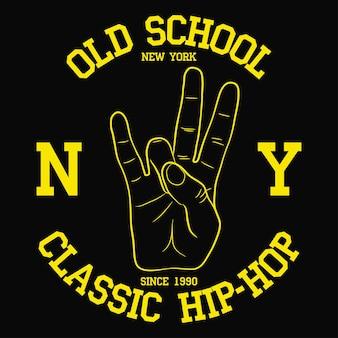 New york ny hiphop-typografie für design-kleidung-t-shirt-druck mit handgeste an der ostküste