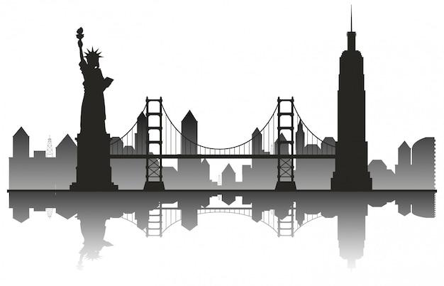 New york silhouette reise wahrzeichen