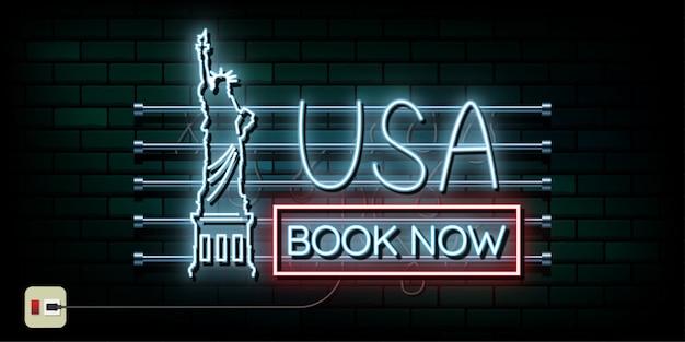 New york und usa reisen und neonlichthintergrund der reise