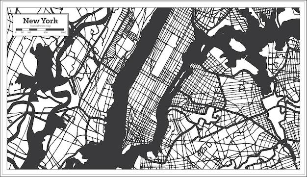 New york usa stadtplan in schwarz-weiß-farbe
