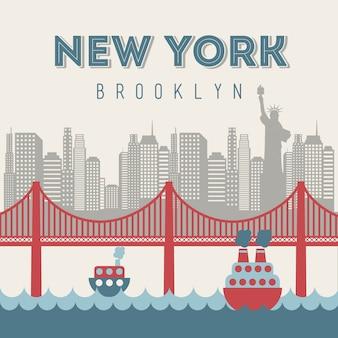 New- yorkdesign über beige hintergrundvektorillustration