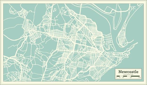 Newcastle australien stadtplan im retro-stil. übersichtskarte. vektor-illustration.