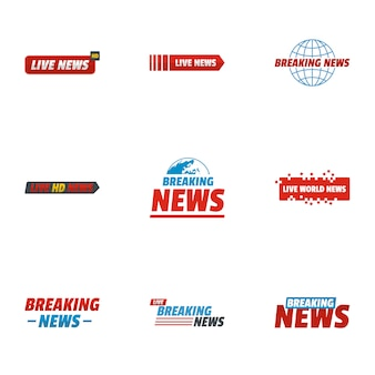 News story icons set. flache reihe von 9 news story icons