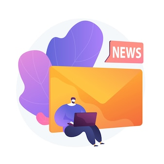 Newsletter-abonnement. moderner zeitvertreib, online-nachrichtenlesen, internet-mail. spam-werbung, phishing-brief, betrugselement-gestaltungselement.