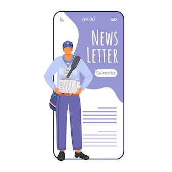 Newsletter cartoon smartphone app bildschirm. zeitungen online lesen. benachrichtigungen erhalten. handy-displays mit flachem charakter-design. anwendung telefon niedliche schnittstelle
