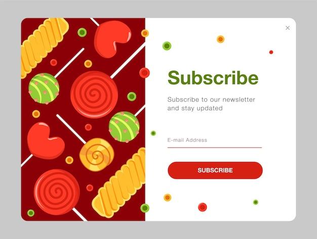 Newsletter-design mit süßigkeiten