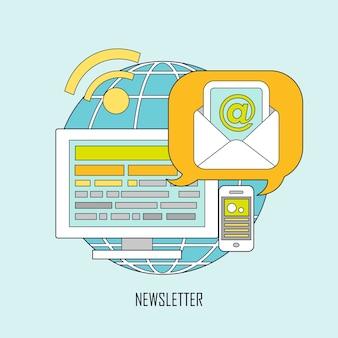 Newsletter-konzept im flachen, dünnen linienstil