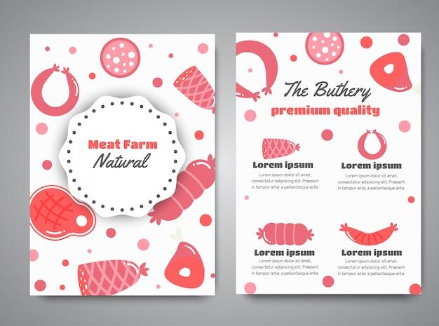 Newsletter mit fleischprodukten. flache fleischfarmelemente.