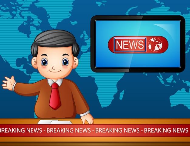 Newsreader sendet im fernsehen
