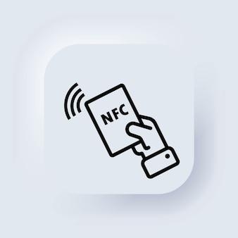 Nfc-symbol. symbol für kontaktlose zahlung. drahtlos bezahlen. kreditkarte. neumorphic ui ux weiße benutzeroberfläche web-schaltfläche. neumorphismus. vektor.