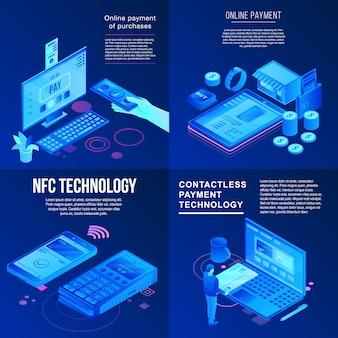 Nfc-technologie-fahnensatz. isometrischer satz der nfc-technologie-vektorfahne für webdesign