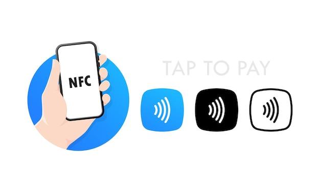 Nfc-technologie für kontaktloses drahtloses bezahlen mit smartphones