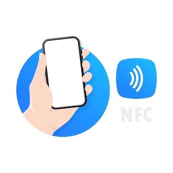 Nfc-technologie in einem kontaktlosen drahtlosen pay-logo für smartphones