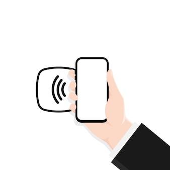 Nfc-technologie in einem smartphone. kontaktloses drahtloses bezahlen.