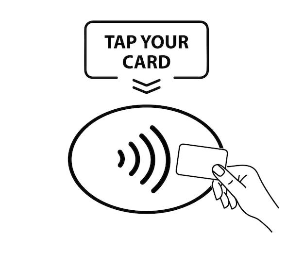 Nfc-zahlung. symbol für kontaktlose zahlung. kontaktloses drahtloses nfc-zahlungszeichen. tippen sie auf, um konzept zu bezahlen - vektorzeichen.