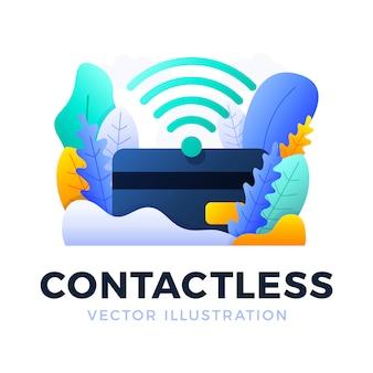 Nfc-zahlungs-und kreditkarte-vektorillustration lokalisiert. das konzept des kontaktlosen bezahlens im bankensektor.