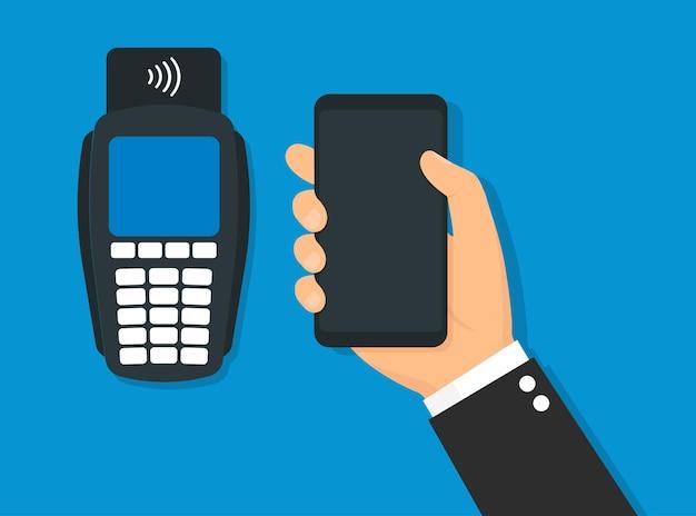 Nfc-zahlungsvektorillustration, zahlung mit einem smartphone