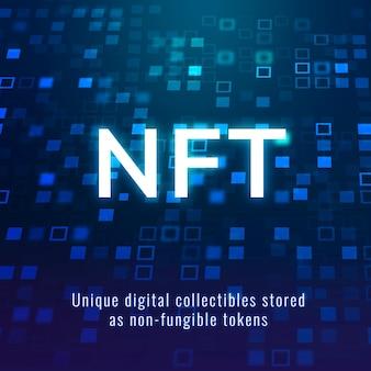 Nft-krypto-sammlervorlagenvektor dezentraler blockchain-social-media-post