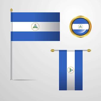 Nicaragua, das flaggendesign mit ausweisvektor wellenartig bewegt