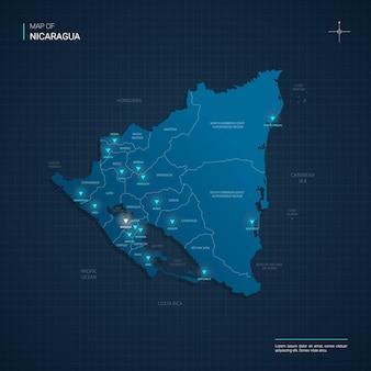 Nicaragua karte mit blauen neonlichtpunkten