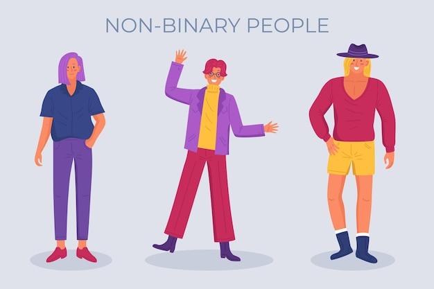 Nicht-binäre menschen organische flache illustration