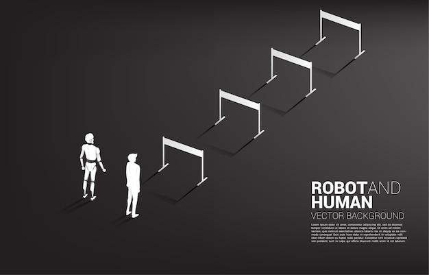 Nicht faires rennen von mensch und roboter. geschäftskonzept für maschinelles lernen und künstliche intelligenz. mensch gegen roboter.
