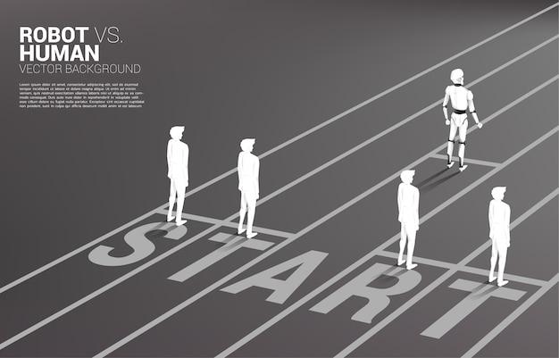 Nicht faires rennen von mensch und roboter.