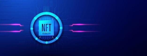Nicht fungible nft-token-kryptokunst auf blauem abstraktem hintergrund
