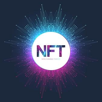 Nicht fungibles nft-token. symbol für nicht fungible token, das das konzept nft abdeckt. high-tech-technologie-symbol-logo-vektor.