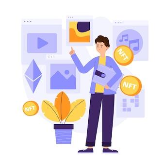 Nicht fungibles token-konzept mit flachem design