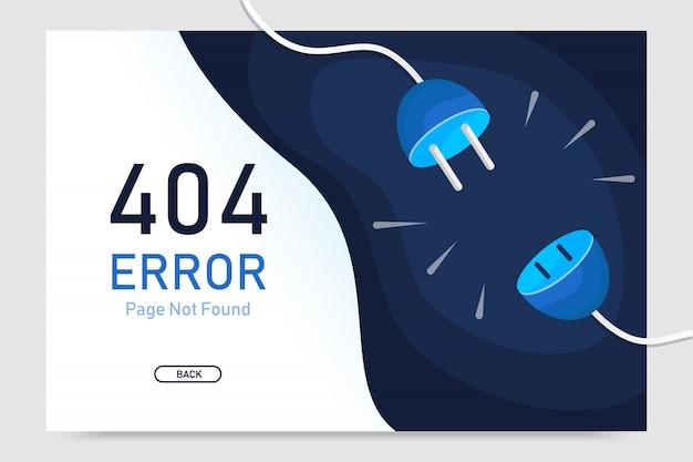Nicht gefundener vektor der fehlerseite 404 mit steckergrafikdesignschablone für websitegrafik