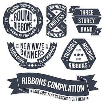 Nicht gewöhnliche bänder und banner im retro-stil zur verwendung in emblemen. endlose bands für logos.